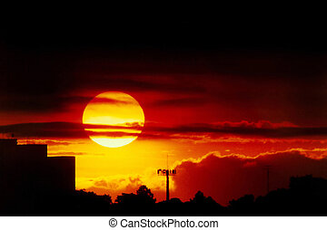 Sunset in Sao Paulo - Sunset in the City of Sao Paulo in...