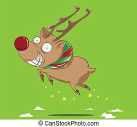 reindeer flying