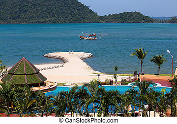 Island Koh Chang ,Thailand - Swimming pool near the sea ,...