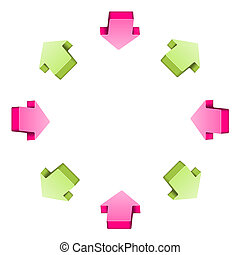 The arrow circle composition - The communication circle made...