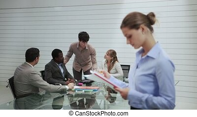 portrait of woman in meeting room - Portrait of business...