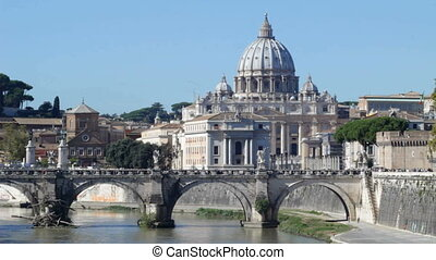 Vatican and Tiber River Daytime 1 - Sunny view of St Peters...