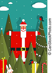 Santa with Gifts and Presents in Woods - Vector EPS8 graphic...