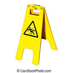 Warning sign for slippery floor isolated