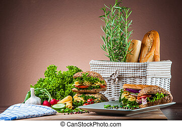 Organic, healthy food with sandwich - Natural concept with...
