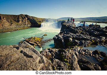 Icelandic Waterfall Godafoss - flow, most, fall, foss, land,...