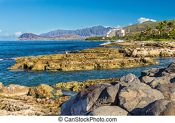 Leeward Oahu - A view of the leeward coast and the Waianae...