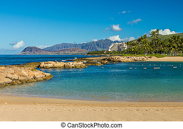 Ulua Lagoon, the first of four lagoons, at Ko Olina resort...