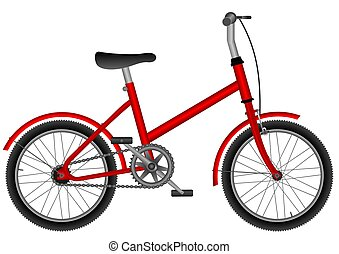 childs bike - childs red bicycle on white isolated...