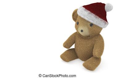Christmas Teddy - Christmas teddy bear isolated on white...