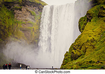 Icelandic Waterfall Iceland - flow, most, fall, foss, land,...