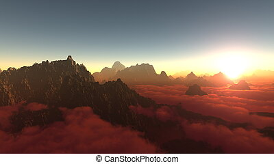 sun rise from mountaintop