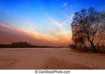 river scenery in winter