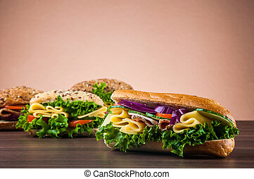 Tasty lunch with natural sandwich - Natural concept with...