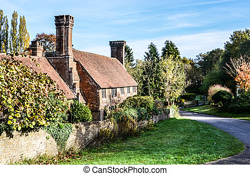Old cottage with lovely chimneys, Millford Surrey, England,...