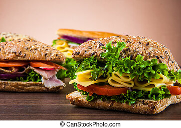 Tasty, natural lunch - Natural concept with sandwich