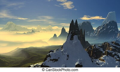 Flying among the mountains - Sharp mountain peaks covered...