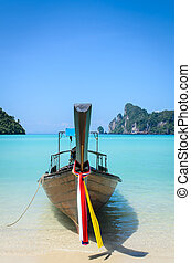 Thai Traditional longtail boat in the beach, Krabi...