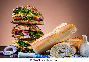Natural healthy lunch with sandwich - Natural concept with...