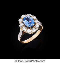 Diamond ring - Gold ring with white diamonds