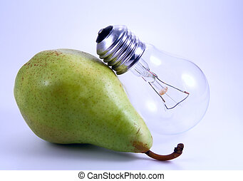 Green pear and electric bulb