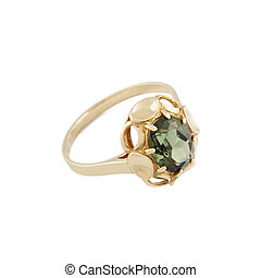 Gold jewelry ring on a white background