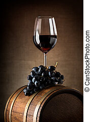 Wine goblet and barrel - Wine goblet with wooden barrel and...