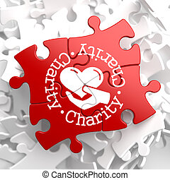 Charity Concept on Red Puzzle. - Charity Word Written...