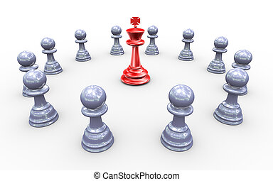 Concept of leadership - 3d render of king chess peaces...