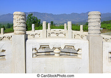 ZUNHUA - MAY 11: White marble three hole stone bridge in the Eastern Royal Tombs of the Qing Dynasty on May 11, 2013, Zunhua, Hebei Province, china.