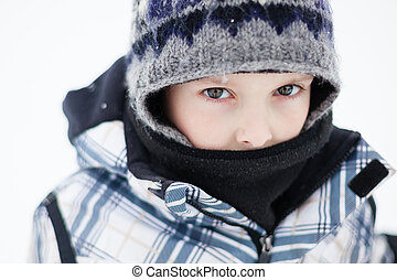 Boy on a cold winter day - Boy all dressed up for a cold...