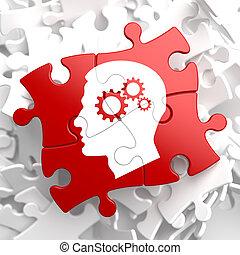 psicológico, concepto, rojo, rompecabezas