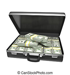 Black case with money - isolated on white background. 3d...