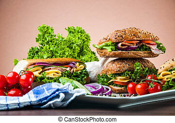 Healthy lunch, sandwich - Natural concept with sandwich