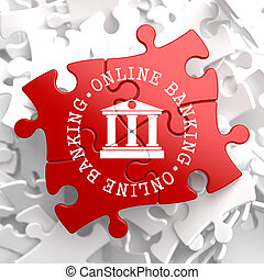 Online Banking Concept on Red Puzzle - Online Banking on Red...
