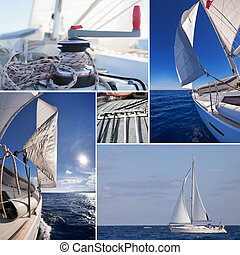 Collage of sailing boat staff