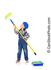 decorator boy - Little boy playing a painter. Different...