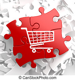 Shopping Cart Icon on Red Puzzle. - Icon of Shopping Cart on...