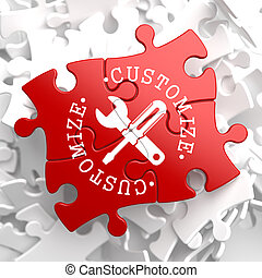 Customize Concept on Red Puzzle. - Customize Written Arround...