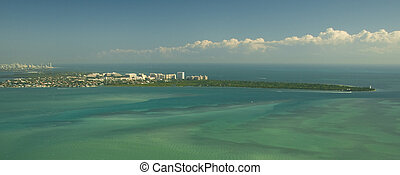 Miami Green and Blue - Aerial photography of the contrast of...