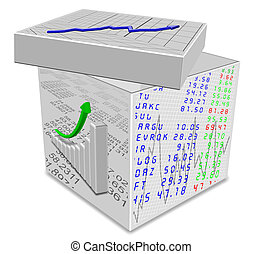 File box - White box with different types of charts printed...