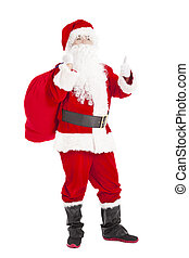 merry Christmas Santa Claus holding gift bag with thumb up