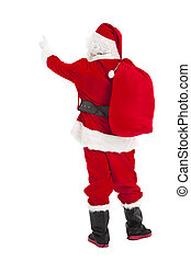 merry Christmas Santa Claus pointing and rear view