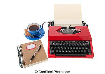 Red typewriter with blank paper - Vintage red typewriter...