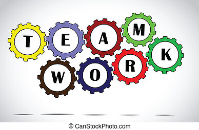 team work concept colorful gears