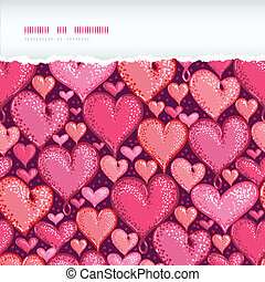 Red Valentine's Day Hearts Horizontal Torn Seamless Pattern Background