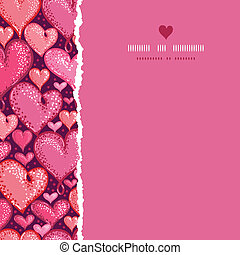 Red Valentine's Day Hearts Square Torn Seamless Pattern Background