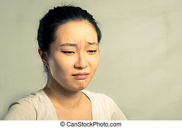 Portrait of woman crying - Portrait of young woman crying...