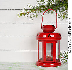 Christmas lantern on a white background