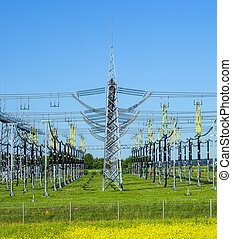 electrical power plant in  colorful meadow